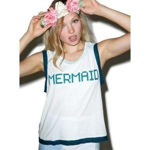 Wildfox Blue Glitter Bling Lace Trim Mermaid BFF